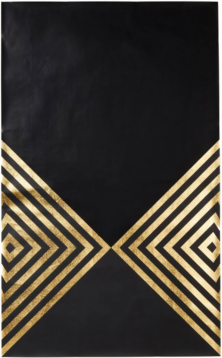 Lisa Hunt Abstract Print - Hunt Arrows (design gold black metallic work on paper gold stripes Art Deco)
