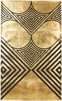 Hunt Arrows II (design gold black metallic work on paper gold stripes Art Deco)