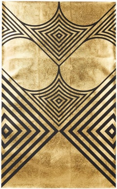 Hunt Arrows II (design gold black metallic work on paper stripes Art Deco)