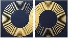 Infinity Diptych (design gold black metallic work on paper gold lines Art Deco)