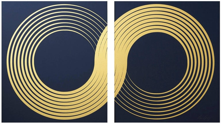 Lisa Hunt Abstract Print - Infinity Diptych (design gold black metallic work on paper gold lines Art Deco)
