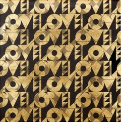 Love and Arrows (design gold black metallic work on paper patterns Art Deco)