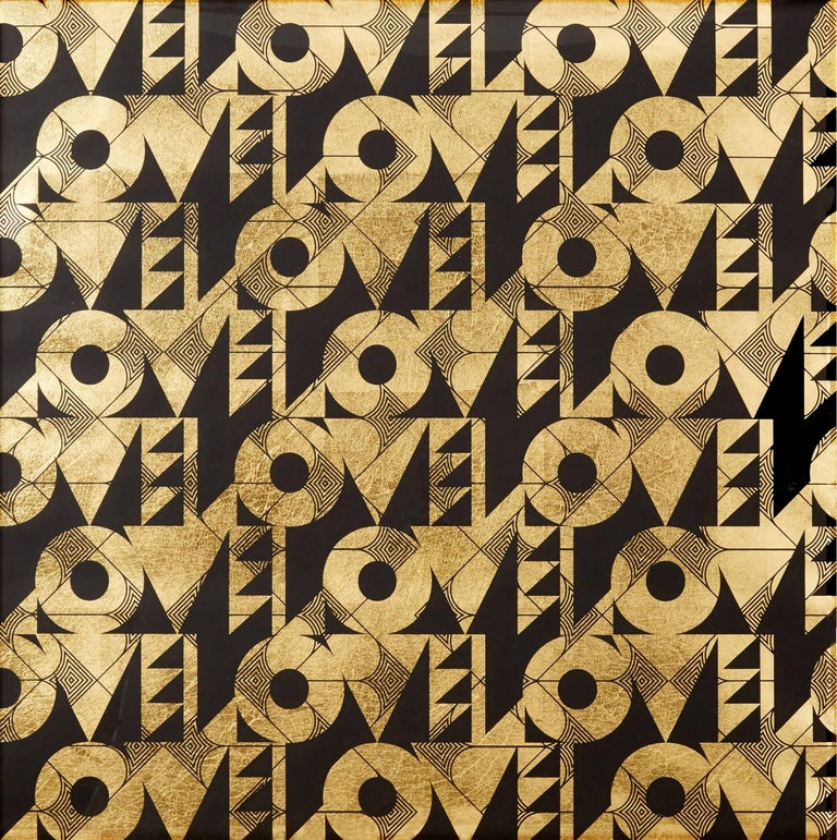 Love and Arrows (design gold black metallic work on paper patterns Art Deco) - Mixed Media Art by Lisa Hunt