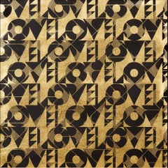 Love and Arrows II (design gold black metallic work on paper Art Deco pattern)