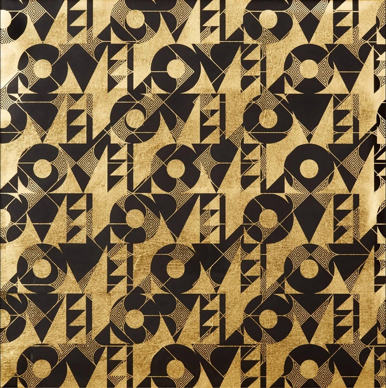 Love and Arrows II (design gold black metallic work on paper Art Deco pattern) - Mixed Media Art by Lisa Hunt