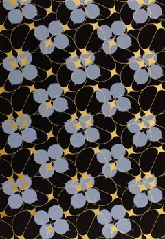 Pomegranate (design gold black blue work on paper pattern Art Deco arabesque)