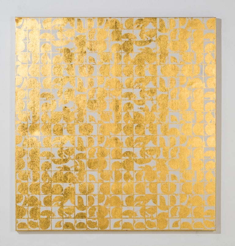 ROUNDS NEGATIVE CANVAS I (BONE) (design gold white metallic work on canvas) - Abstract Geometric Mixed Media Art by Lisa Hunt