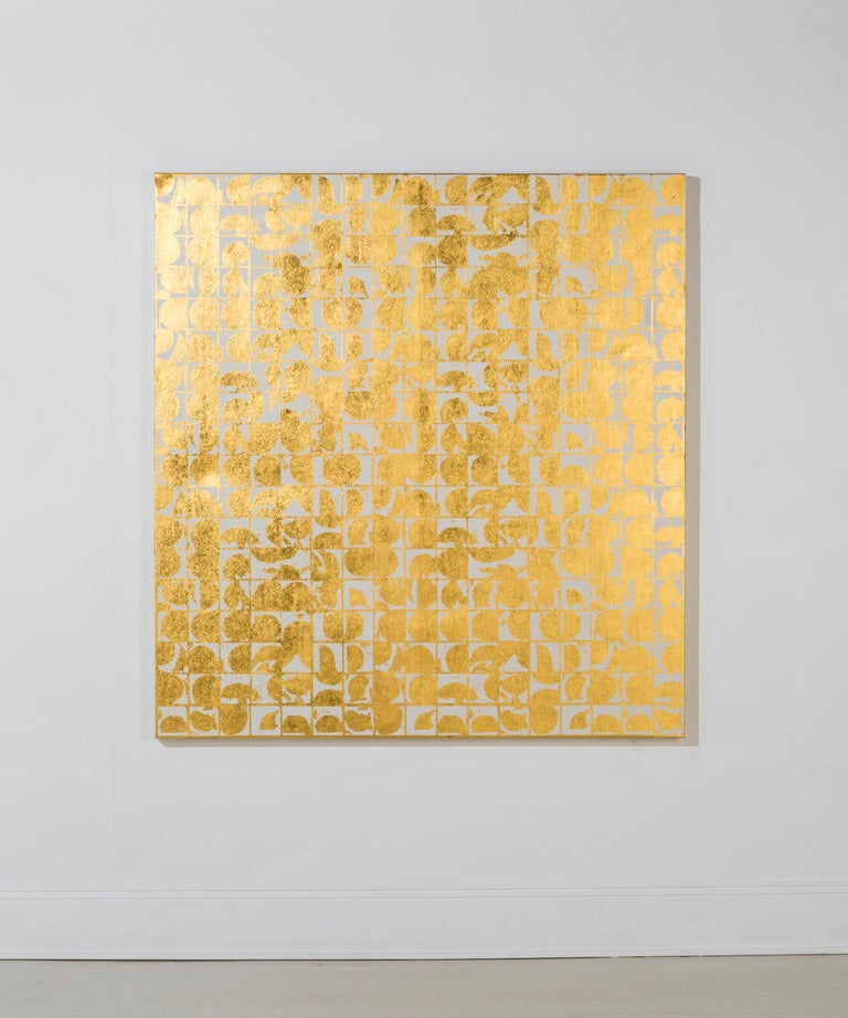 Lisa Hunt's Rounds Positive Canvas I (Bone) is an abstract screen printed work on canvas, painted with acrylic paint and hand-applied 24K gold leaf. It is a graphic, gridded abstract pattern consisting of repeated with coil shapes. The works on