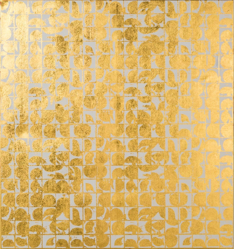 ROUNDS NEGATIVE CANVAS I (BONE) (design gold white metallic work on canvas) - Mixed Media Art by Lisa Hunt