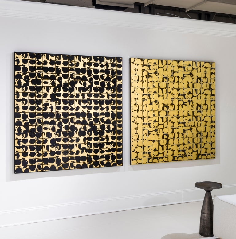 Lisa Hunt's Abstract Coils Canvas I is an abstract screen printed work on canvas, painted with acrylic paint and hand-applied 24K gold leaf. It is a graphic, gridded abstract pattern consisting of repeated with coil shapes. The works on canvas in