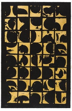 Rounds Positive (art deco design gold black work on paper abstract pattern)