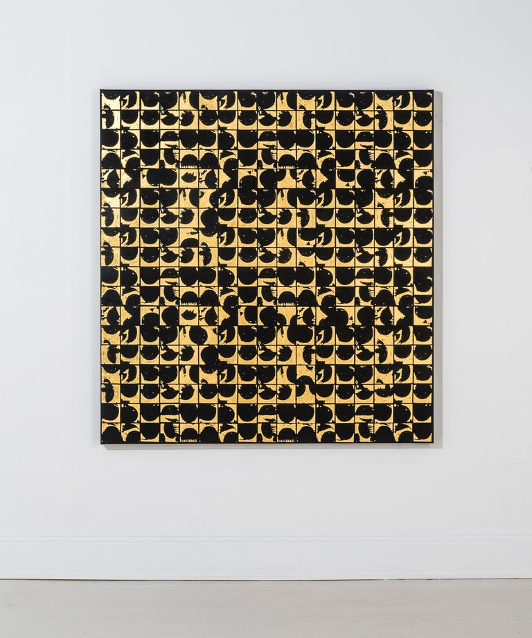 ROUNDS POSITIVE CANVAS I (design gold black metallic work on canvas patterns)  - Print by Lisa Hunt