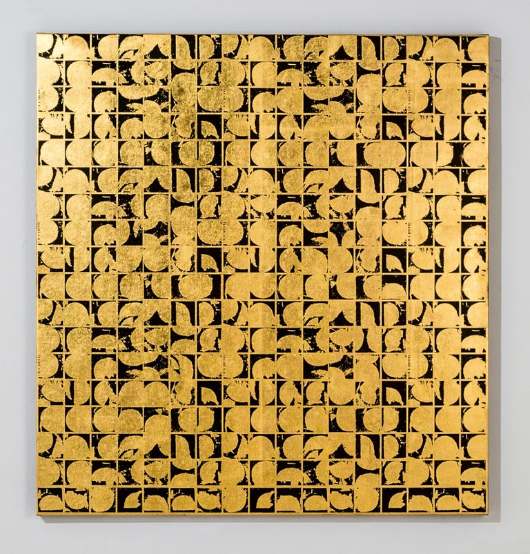 ROUNDS POSITIVE CANVAS I (design gold black metallic patterns large canvas print - Abstract Geometric Mixed Media Art by Lisa Hunt