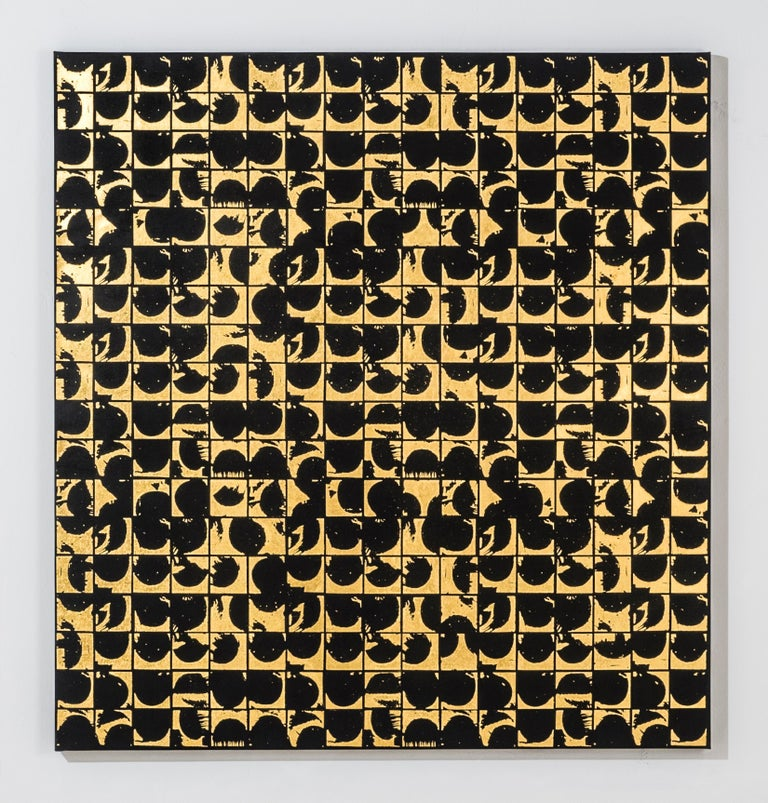 ROUNDS POSITIVE CANVAS I (design gold black metallic work on canvas patterns)  - Abstract Geometric Print by Lisa Hunt
