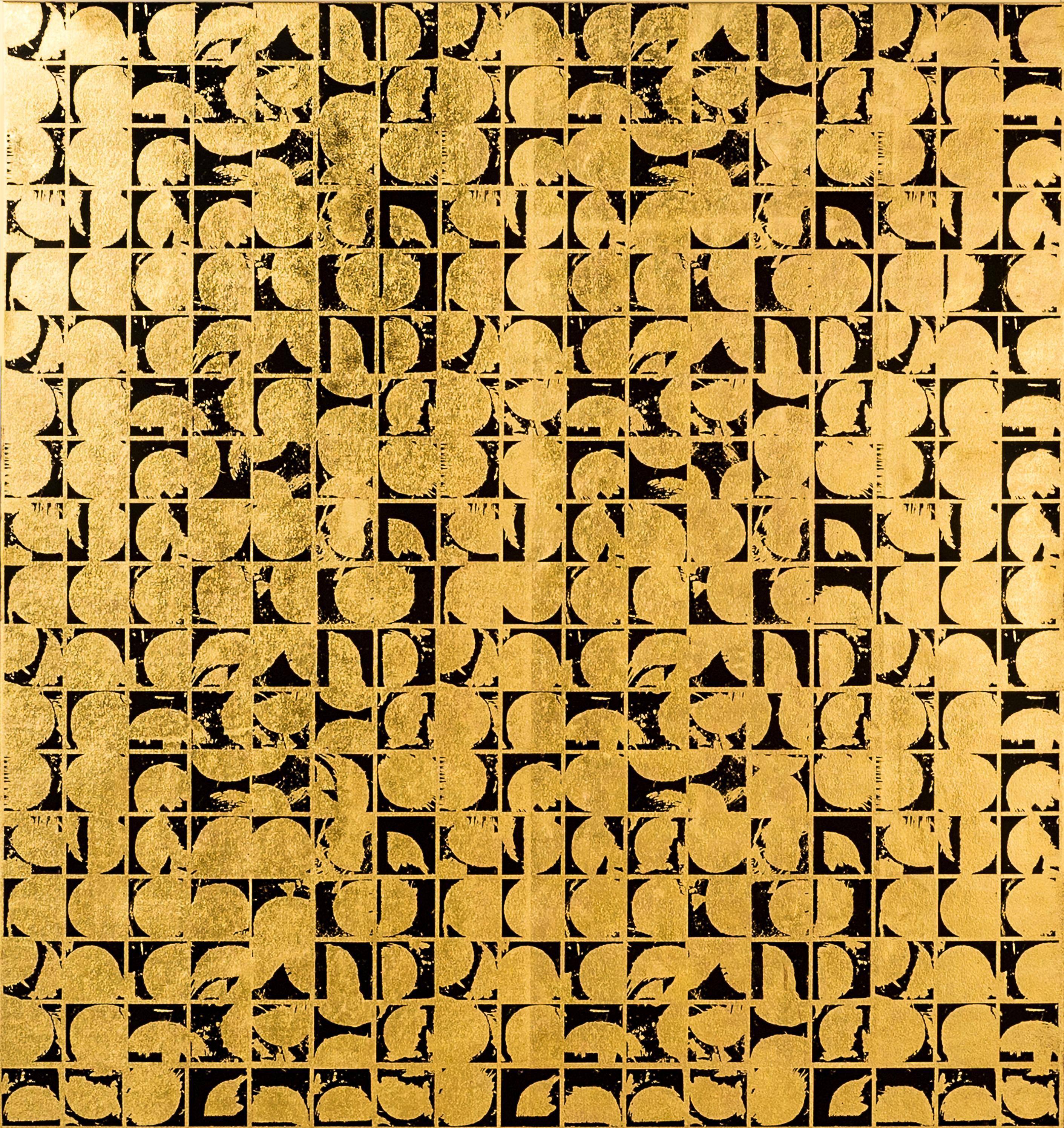 ROUNDS POSITIVE CANVAS I (design gold black metallic patterns large canvas print
