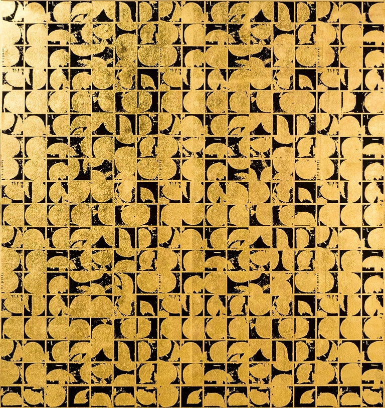 ROUNDS POSITIVE CANVAS I (design gold black metallic patterns large canvas print - Mixed Media Art by Lisa Hunt