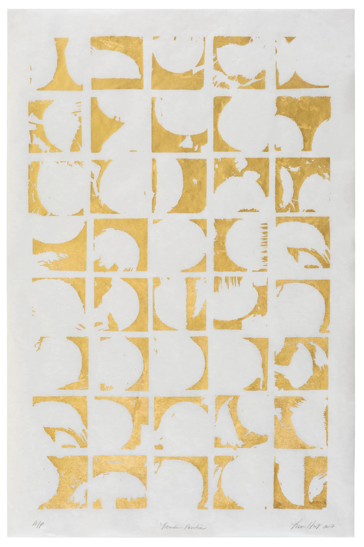 Rounds Positive (gold white paper patterns art deco mordern design print )