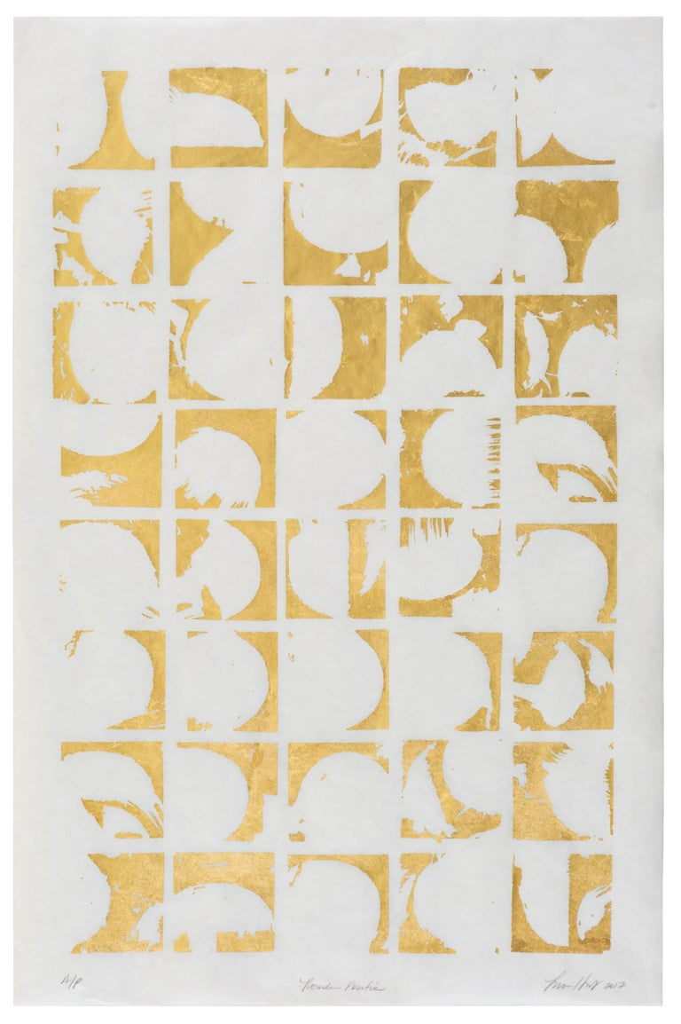Rounds Positive (gold white paper patterns art deco mordern design print ) - Mixed Media Art by Lisa Hunt