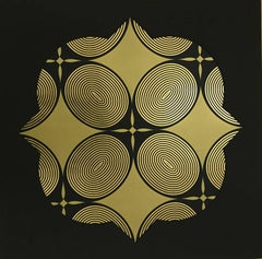 Royal Palm Window I (design gold black metallic work on paper Art Deco patterns)