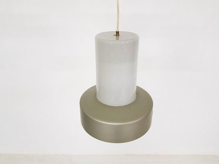 Scandinavian Modern Lisa Johansson-Pape 61-013 Glass and Metal Pendant Light for Orno, Finland, 1961 For Sale