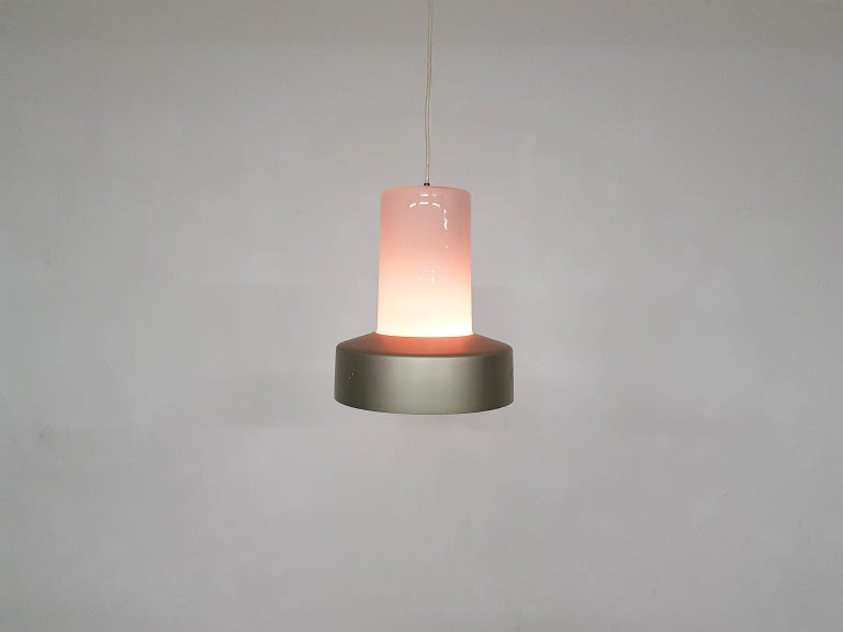 Finnish Lisa Johansson-Pape 61-013 Glass and Metal Pendant Light for Orno, Finland, 1961 For Sale