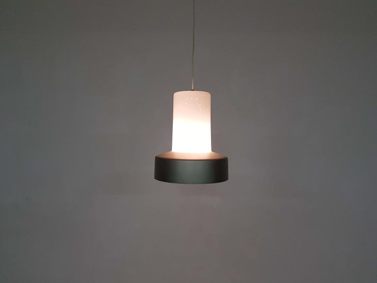 Brushed Lisa Johansson-Pape 61-013 Glass and Metal Pendant Light for Orno, Finland, 1961 For Sale