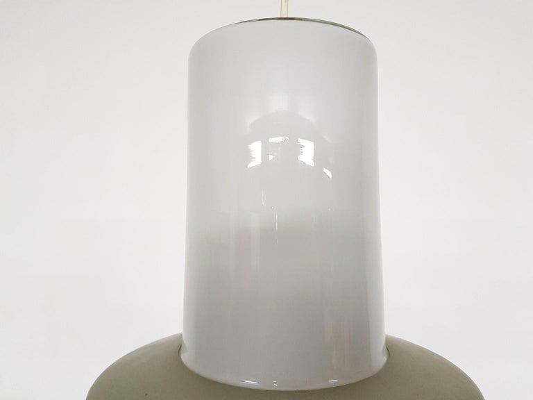 Mid-20th Century Lisa Johansson-Pape 61-013 Glass and Metal Pendant Light for Orno, Finland, 1961 For Sale