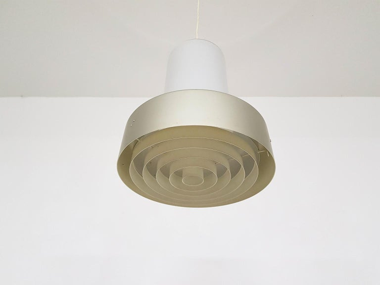 Aluminum Lisa Johansson-Pape 61-013 Glass and Metal Pendant Light for Orno, Finland, 1961 For Sale