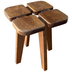"Lisa Johansson-Pape ""Apila"" Stool, Stained Pine, Oy Stockmann Ab, 1970s, Sweden"