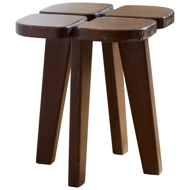 """Lisa Johansson-Pape """"Apila"""" Stool, Stained Pine, Oy Stockmann Ab, Finland, 1970s For Sale"""