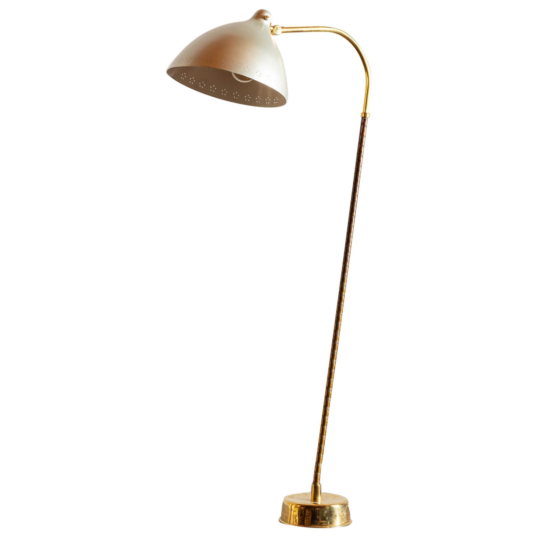 Lisa Johansson-Pape Floor Lamp in Brass, Steel and Leather, Finland, 1950s