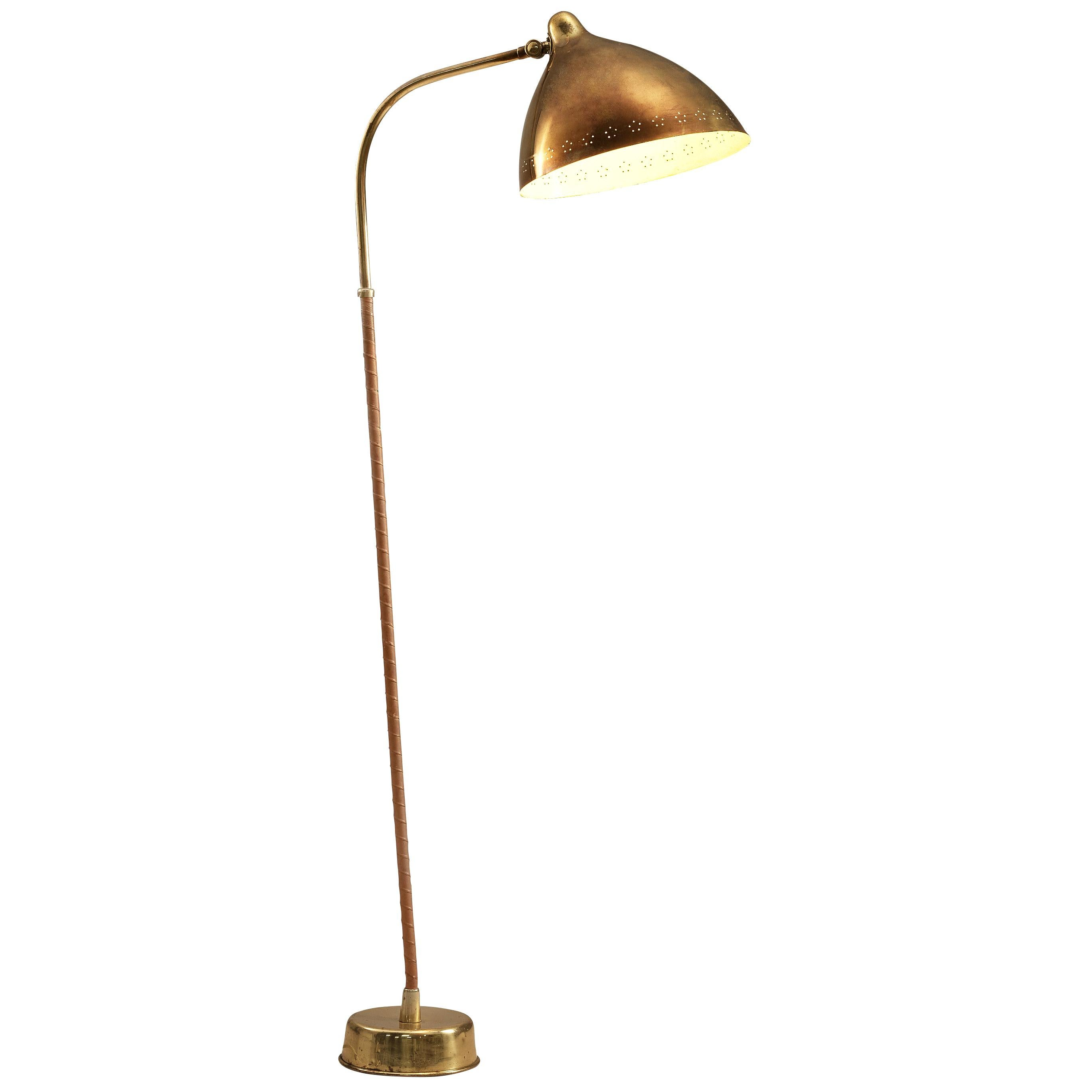 Lisa Johansson-Pape for Orno Floor Lamp in Brass and Leather