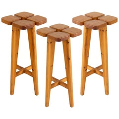 Lisa Johansson Pape Three Barstools in Solid Pine