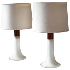 Lisa Johansson-Pape, Pair of Opal Glass and Copper Table Lamps, 1960s