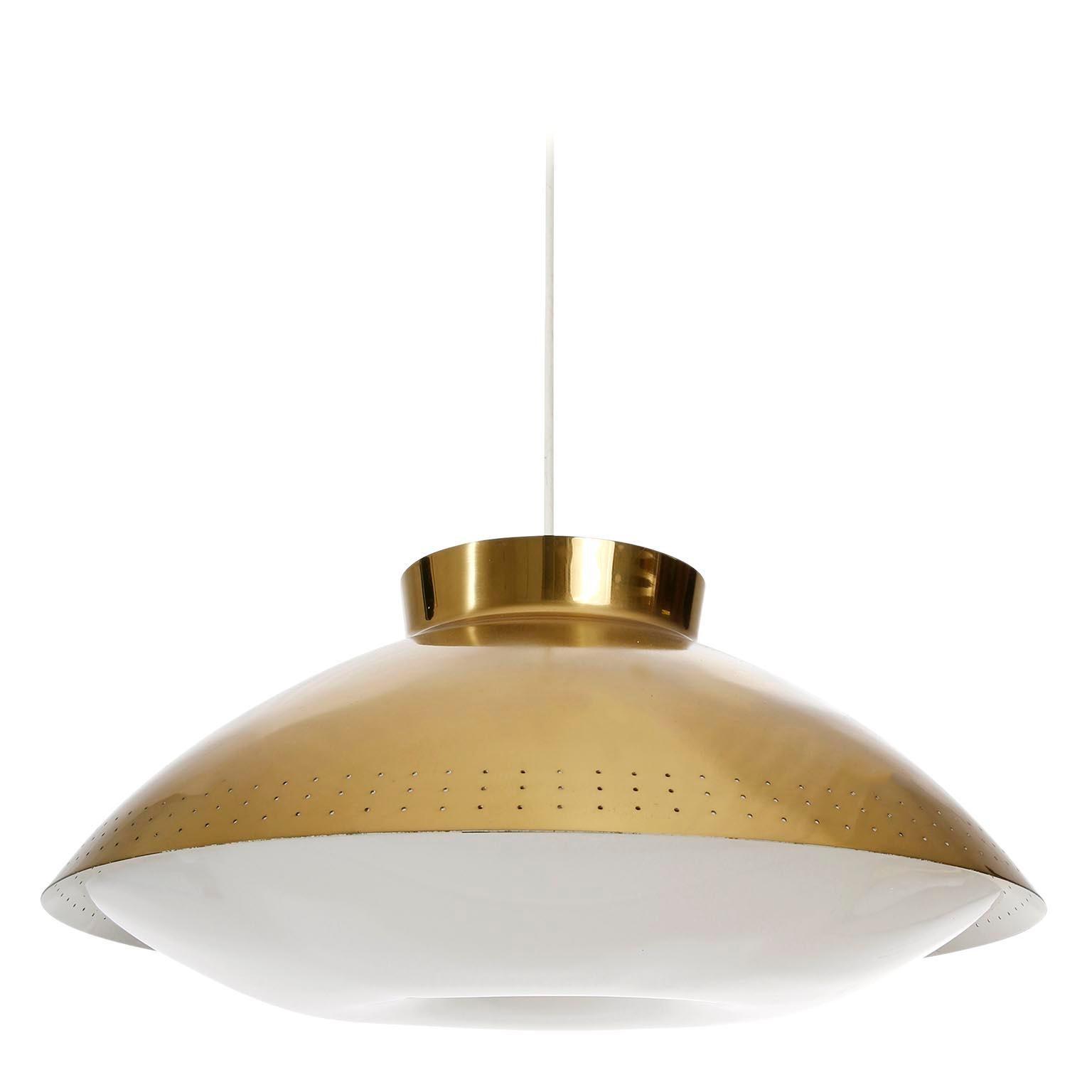 Lisa Johansson-Pape Pendant Light, Orno, Opal Plexiglass Brass, Finland, 1950s