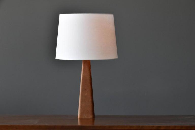 Scandinavian Modern Lisa Johansson-Pape, Table Lamp, Leather, Wood, Brass, Ornö, Finland, 1960s For Sale