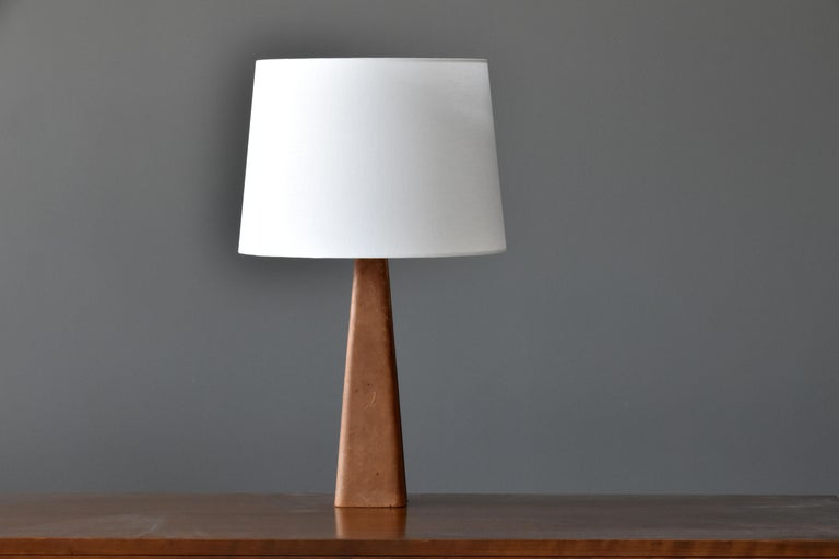 Finnish Lisa Johansson-Pape, Table Lamp, Leather, Wood, Brass, Ornö, Finland, 1960s For Sale