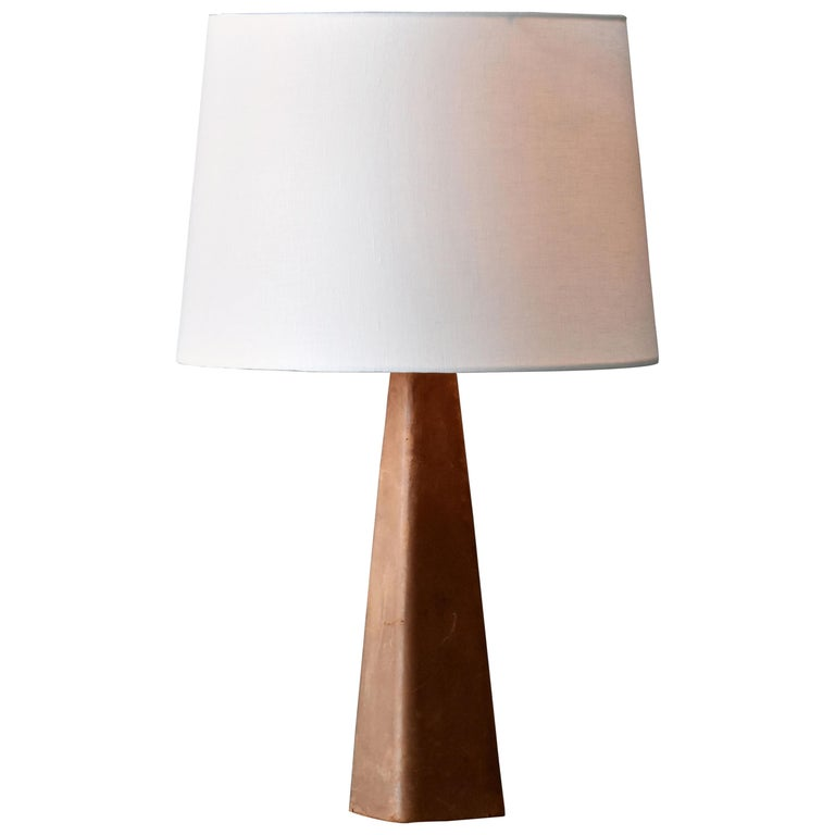 Lisa Johansson-Pape, Table Lamp, Leather, Wood, Brass, Ornö, Finland, 1960s For Sale