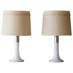 Lisa Johansson-Pape, Table Lamps, Glass, Chrome Metal, Fabric, Ornö Finland 1954