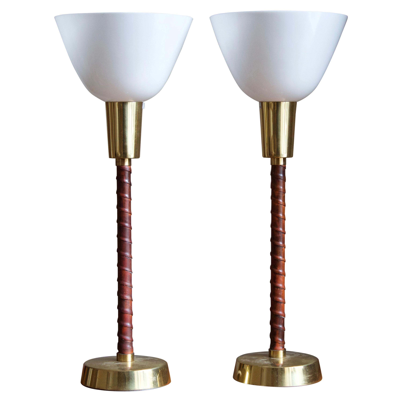 Lisa Johansson-Pape, Table Lamps, Leather Brass, Acrylic, Ornö Finland, 1960s