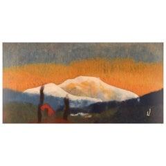 Lisa Johansson, Swedish Artist, Wool on Board, Modernist Mountain Landscape