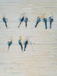 Getting There- textural blue, orange and white oil painting with birds on a wire