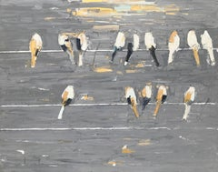 Glimpse - textural grey brown white palette oil painting with birds on a wire