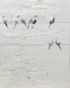 Magnetism - textural soft white grey palette oil painting with birds on a wire