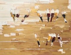 Parallel - textural brown and white palette oil painting with birds on a wire