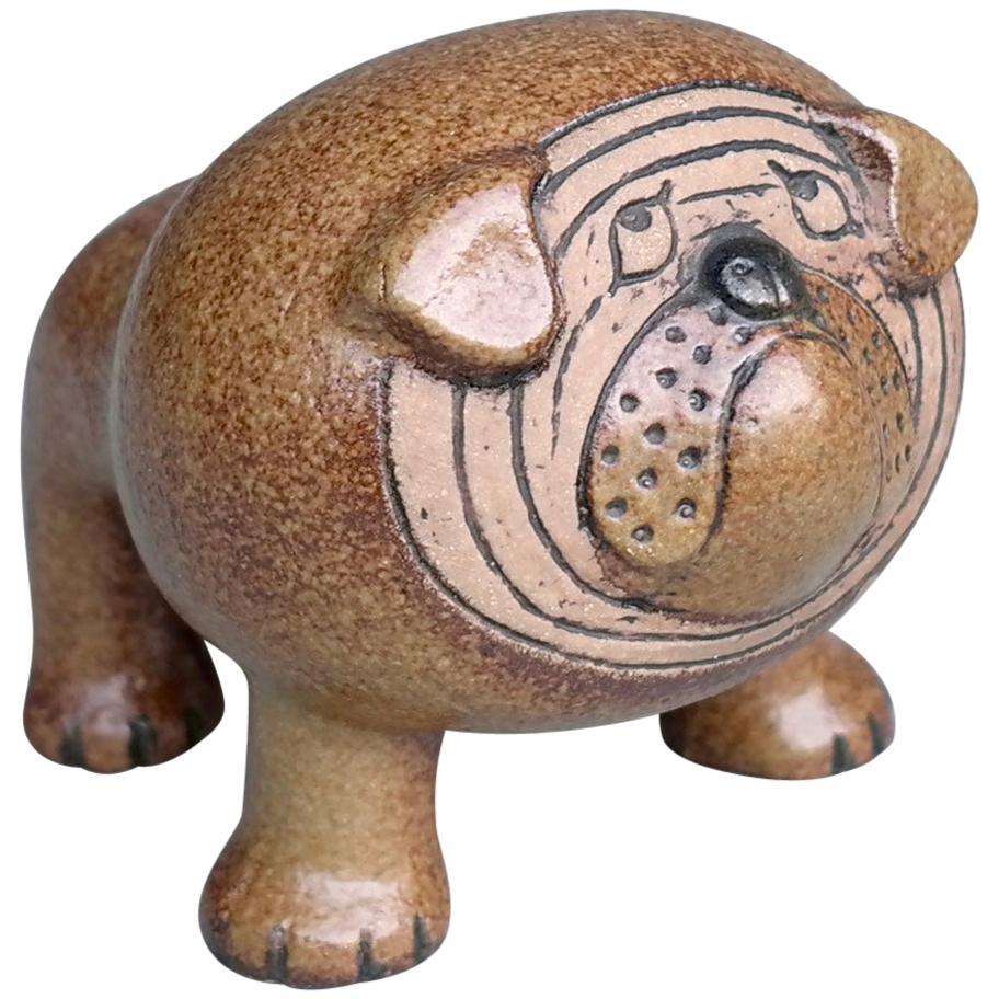 Lisa Larson Bulldog Figurine by Gustavsberg Sweden, 1960s
