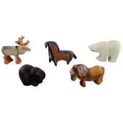 Lisa Larson for Gustavsberg, Five Figures of Animals in Glazed Ceramics