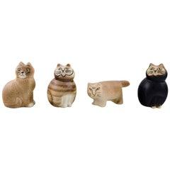 Lisa Larson for Gustavsberg, Four Cats in Glazed Ceramics, 1970s