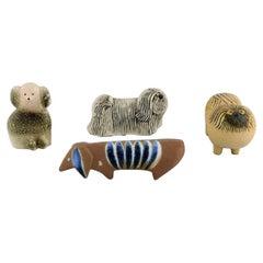 Lisa Larson for Gustavsberg, Four Dogs in Glazed Ceramics, 1970s