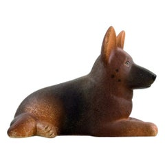 Lisa Larson for Gustavsberg, German Shepherd in Glazed Stoneware